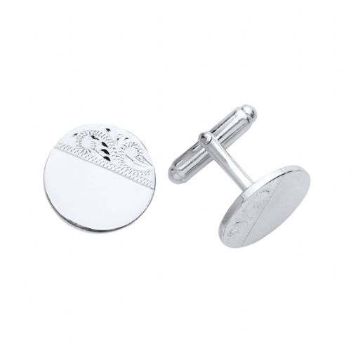 Solid Sterling Silver Part Engraved Round Cufflinks